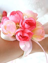 abordables -Fleurs de mariage Rond Roses Petit bouquet de fleurs au poignet Mariage La Fête / soirée Satin Coton Perle