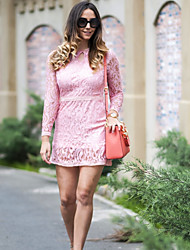 Women's Vogue Lace Hook Flower Slim Dress , Lace / Party Round Neck Long Sleeve