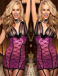 Women Lace Lingerie NightwearThin Cotton Lace Beige Purple Red Black