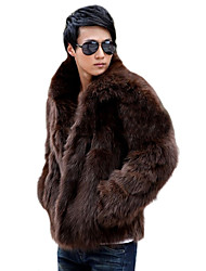 cheap -Men's Daily Classical Winter Fur Coat,Solid Color V Neck Long Sleeve Regular N/A