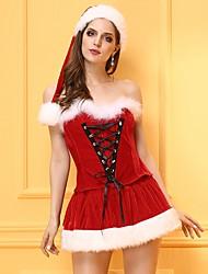 Corset / Robes Corset / Set de Corset Vêtement de nuit Femme,Sexy / Push-up / Rétro Mosaïque-Moyen Nylon / Polyester Rouge Aux femmes