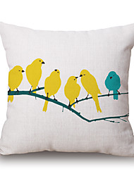 1Pcs BirdPattern Cotton Pillow Cover
