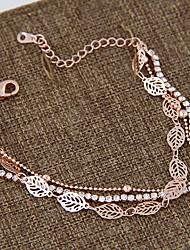 Da donna Bracciali a catena e maglie Strass imitazione diamante Lega Di tendenza A foglia Oro rosa Gioielli 1 paio