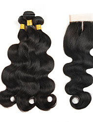 cheap -Peruvian Hair Body Wave Hair Weft with Closure 3 Bundles With  Closure 8-26inch Human Hair Weaves 4x4 Closure natural black