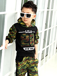 Boy's Cotton Spring/Fall Camouflage Sports Hoodie Sweatshirt And Pants Two-piece
