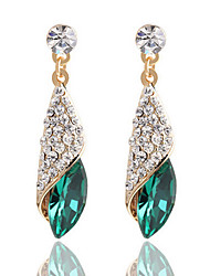 cheap -Full Of Diamond Emerald Heart Of Ocean Droplets Earrings Wedding Jewelry