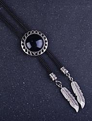 cheap -Circular Agate Stone Bolo Tie Artificial Sapphire Men Bola Tie Necktie