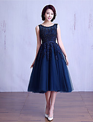 cheap -Ball Gown Jewel Neck Tea Length Lace Over Tulle Bridesmaid Dress with Beading / Lace / Sash / Ribbon by LAN TING Express