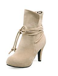 baratos -Mulheres Sapatos Courino Outono / Inverno Salto Agulha 10.16-15.24 cm / Botas Curtas / Ankle Bege / Cinzento / Marron