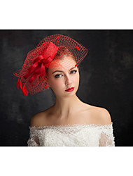 Tulle Flax Lace Feather Net Fascinators Headpiece Elegant Style