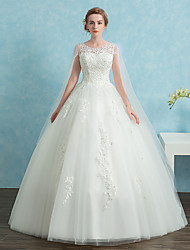 cheap -Ball Gown Scoop Neck Cathedral Train Lace Satin Tulle Wedding Dress with Sequin Lace by LAN TING BRIDE®