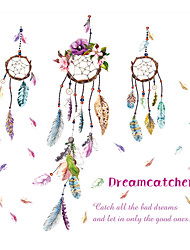 Bohemia Style Colorful Feather Wind Chimes Wall Stickers Fashion Ethnic Bedroom Living Room Wall Decals