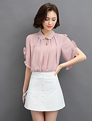 cheap -Women's Going out Sexy / Street chic Summer Blouse,Solid Shirt Collar Short Sleeve Blue / Pink / White Polyester Thin