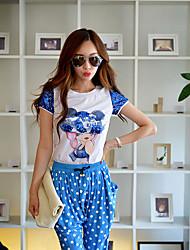 růžová Doll® Dámské Kulatý Krátké rukávy Tričko Ivory-X15BTS081