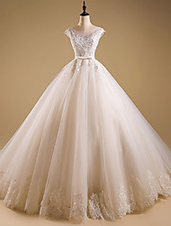 Ball Gown Jewel Neck Sweep / Brush Train Organza Wedding Dress with Beading Appliques Ruffle by LAN TING BRIDE®