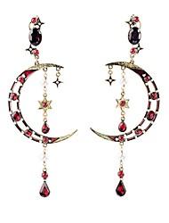 cheap -European Luxury Gem Geometric Earrrings Vintage Moon Drop Earrings for Women Fashion Jewelry Best Gift