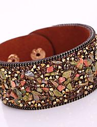 Damen Wickelarmbänder Lederarmbänder Modisch Böhmen-Art bezaubernd Modeschmuck Leder Strass Aleación Geometrische Form Schmuck Für Party