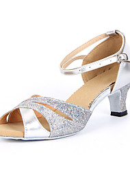 "cheap -Women's Latin Ballroom Sparkling Glitter Sandal Buckle Chunky Heel Silver Blue Gold 2"" - 2 3/4"" Non Customizable"