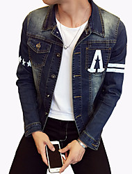 Men's Fashion Letter Print Slim Fit Casual Long Sleeve Denim Jacket,Cotton/Print/Casual/Plus Size