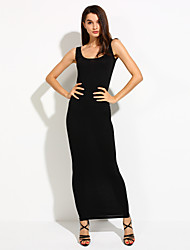 baratos -Mulheres Casual Reto Vestido Sólido Longo