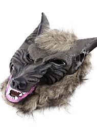 Cabeça de animal lobo látex com máscara de cabelo vestido extravagante traje do partido do dia das bruxas assustador