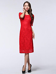 Women's Party / Plus Size Sexy Sheath Dress,Solid Round Neck Knee-length ½ Length Sleeve Red / Purple Polyester Summer