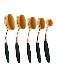 cheap -5Pc/Set Pro Fashion Gold Black Oval Toothbrush Shape Eyebrow Face Foundation Podwer Eyeliner Lip Makeup Brushes Tools
