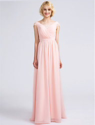 Sheath / Column V-neck Floor Length Chiffon Bridesmaid Dress with Lace Criss Cross by LAN TING BRIDE®