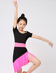 cheap -Kids' Dancewear Outfits Children's Performance Milk Fiber Tassel 1 Piece Fuchsia / Green Latin Dance Short Sleeve