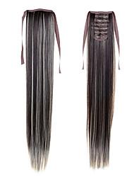 """22 """"(55 cm) 100 g dugi ravni rep sintetičke vrpce ponytails # 4/613 mješovita boje Isječak u kosu ekstenzije rep"""