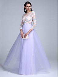 A-Line Bateau Neck Floor Length Tulle Prom Formal Evening Dress with Pattern / Print Sash / Ribbon by TS Couture®