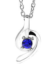 baratos -Mulheres Fofo Zircônia Cubica Cristal Colares com Pendentes  -  Fashion Forma Geométrica Azul Escuro Roxo Colar Para Diário Encontro