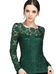 Femme Dentelle Tee-shirt,Mosaïque Sortie Grandes Tailles Chic de Rue Printemps Manches Longues Col Arrondi Bleu Rouge Blanc Beige Noir Vert