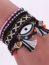 New Fashion Native Style Boheme Tassel Evil Eye Weave Leather Alloy Buckle Bracelet Bangle
