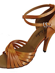 preiswerte -Damen Schuhe für den lateinamerikanischen Tanz / Ballsaal Satin Sandalen / Absätze Schnalle Maßfertigung Tanzschuhe Gelb / Fuchsia / Lila