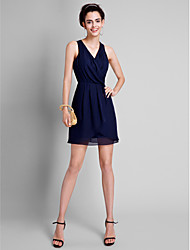 A-Line V-neck Short / Mini Chiffon Bridesmaid Dress with Pleats by LAN TING BRIDE®