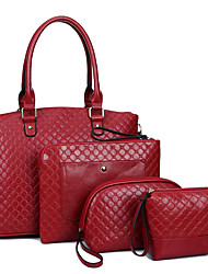 Women Bags All Seasons PU Tote with for Shopping Casual Formal Office & Career Black Red Blue
