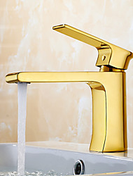 cheap -Contemporary Modern Standard Spout Widespread Waterfall Ceramic Valve Single Handle One Hole Ti-PVD, Bathroom Sink Faucet Kitchen faucet