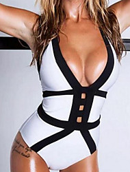 cheap -Women's Color Block Bandeau One-piece Swimwear White