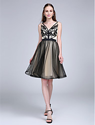 A-Line V-neck Knee Length Tulle Cocktail Party Homecoming Prom Dress with Appliques Sash / Ribbon by TS Couture®