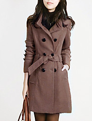 Cappotto Da donna Casual Inverno Semplice,Tinta unita A collo alto Lana Blu / Rosso / Nero / Marrone / Giallo Manica lunga Spesso