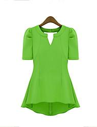 preiswerte -Damen Solide Street Schick Lässig/Alltäglich T-shirt,Tiefes V Sommer Kurzarm Rot / Schwarz / Grün / Gelb Polyester Mittel
