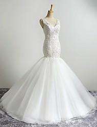 Sirena / tromba v-collo sweep / abito da sposa treno spazzola con appliques da lan ting bride®