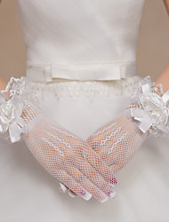 cheap -Lace Net Polyester Wrist Length Glove Bridal Gloves Party/ Evening Gloves With Floral