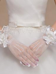 Недорогие -Кружева Полиэстер Сетка До запястья Перчатка Свадебные перчатки Вечерние перчатки With Цветы
