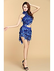 cheap -Ballroom Dance Jewelry Women's Performance Milk Fiber Sequin Sleeveless High Top Skirt