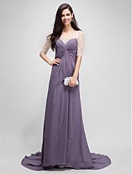 a-line совок длина пола шеи шифон мать невесты платье с бисером по thstylee