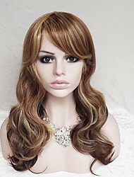 cheap -Synthetic Wig Wavy / Deep Wave Asymmetrical Haircut / With Bangs Synthetic Hair Highlighted / Balayage Hair / Natural Hairline Brown Wig