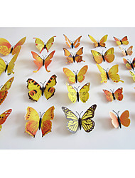 cheap -Butterfly Decals Animals / Romance / Landscape Yellow Orange 3D Wall Stickers Plane Wall Stickers,plastic 12pcs