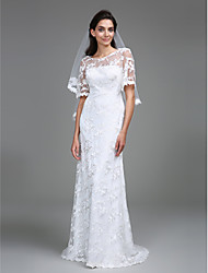 cheap -Sheath / Column Scoop Neck Floor Length Lace Made-To-Measure Wedding Dresses with Lace by LAN TING BRIDE® / See-Through